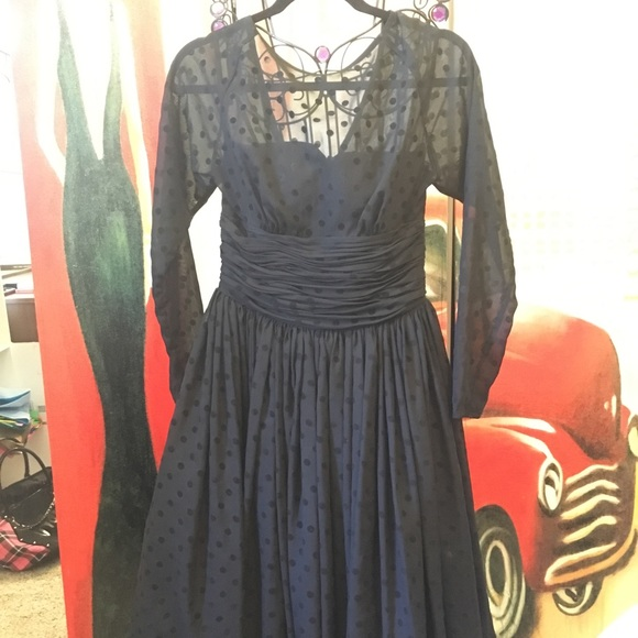 Unique Vintage Dresses & Skirts - Unique Vintage Black formal polka dot dress